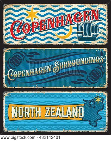 Copenhagen Surroundings, North Zealand Denmark Plates. Danish Capital City And Touristic Area Vintag