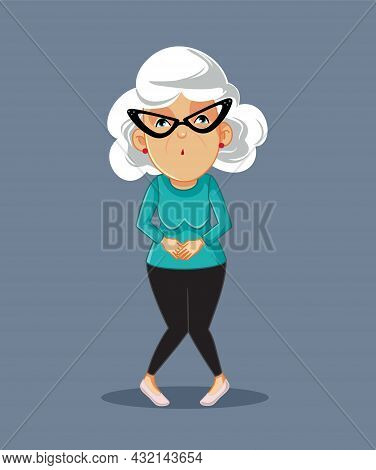 Senior Woman Dealing With Frequent Urination Problem Vector Illustration
