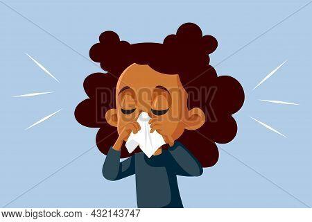Girl With Runny Nose Feeling Unwell Vector Cartoon