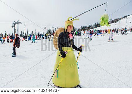 Sheregesh, Kemerovo Region, Russia - April 03, 2021: Grelka Fest In Sheregesh. People In Carnival Co