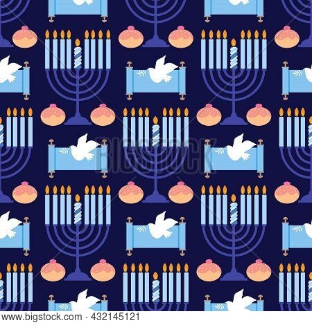 Happy Hanukkah. Jewish Holiday Hanukkah  Seamless Pattern  With  Candelabrum Hanukiya,  Wreath, Cand