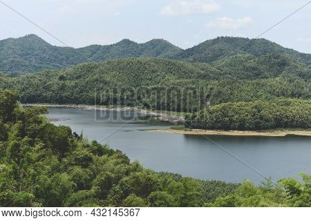 River Lagoon Pond With Blue Water Green Forest Beautiful Fresh Environment Landscape Jungles Lake, R