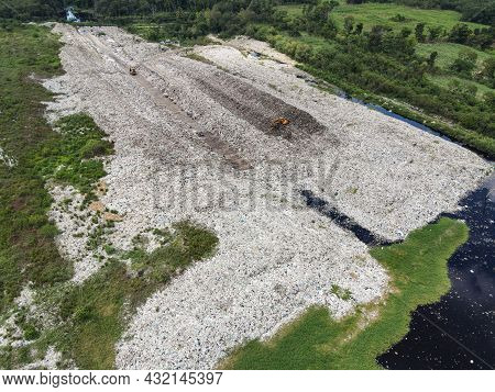 Aerial View Landfill Garbage Waste Huge Dump Environmental Pollution Problem, Top View On Plastic An