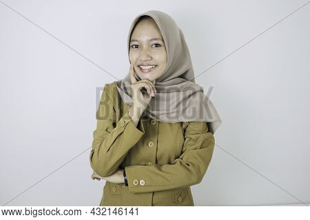 Happy Government Worker Women Have Thinking Gesture. Pns Wearing Khaki Uniform.
