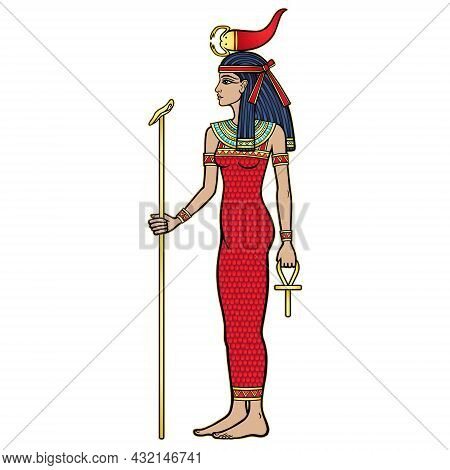 Animation Portrait Ancient Egyptian Goddess Selket Holds Symbols Of Power: Staff And Cross. Lord Of