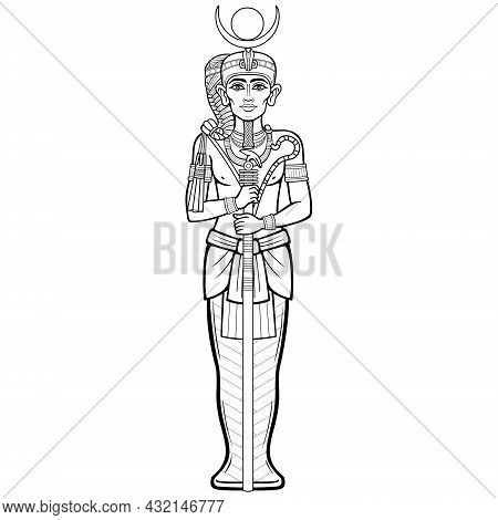 Animation Portrait Sitting Egyptian God Honsu. God Of The Moon, Of Time, A Young Man A Wanderer With