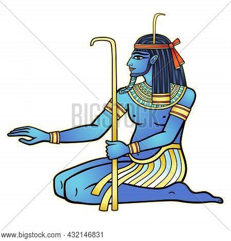 Animation Color Portrait Sitting Egyptian God Hapi. God Of Fertility, Of Water, Of  Nile River. Vect