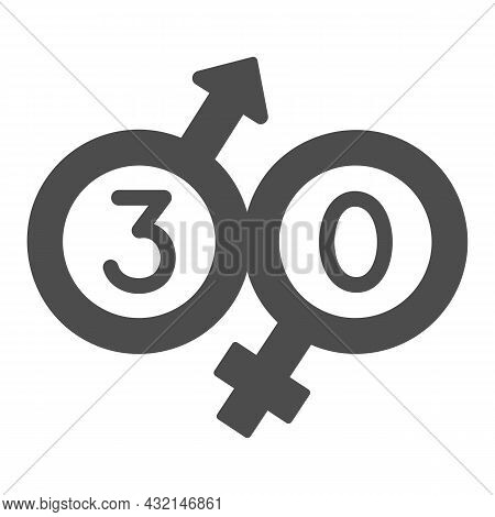 Male And Female Beginning With 30 Solid Icon, Love And Relationship Concept, Thirty Vector Sign On W