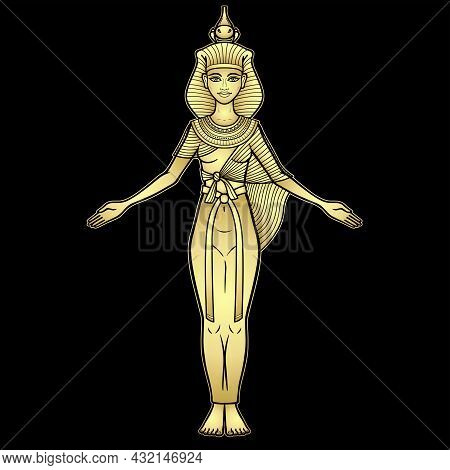 Animation Color Portrait Ancient Egyptian Goddess Selket. Lord Of  Scorpions And Defender Of The Dea