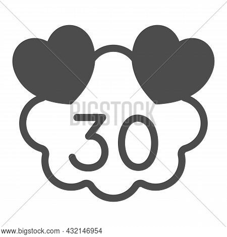 Hearts On Cloud With Number 30 Solid Icon, Love And Relationship Concept, Thirty Years Vector Sign O