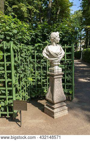 St. Petersburg, Russia - July 09, 2021: Bust Julius Caesar In The Summer Garden In St. Petersburg, U