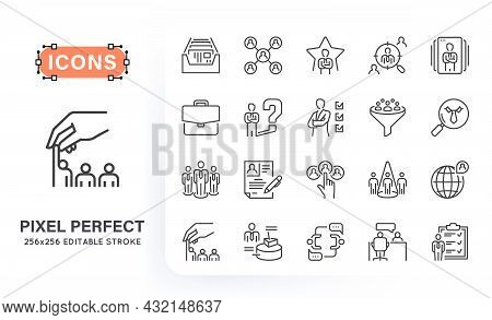 Set Of Headhunting Related Line Icons. Contains Such Icons As Index Card, Candidate, Portfolio, Targ