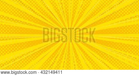 Halftone Comic Background. Yellow Wallpaper Template With Superhero Design. Vector Illustration In P
