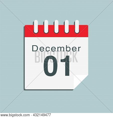 Icon Day Date 1 December, Template Calendar Page