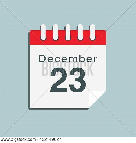 Icon Day Date 23 December, Template Calendar Page
