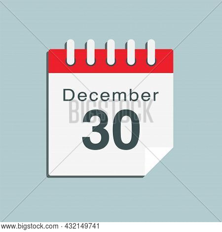 Icon Day Date 30 December, Template Calendar Page