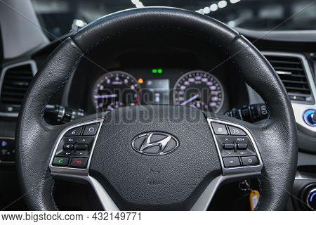 Novosibirsk, Russia - July 16, 2021: Hyundai Tucson, Cockpit Interior Cabin Details, Speedometer And