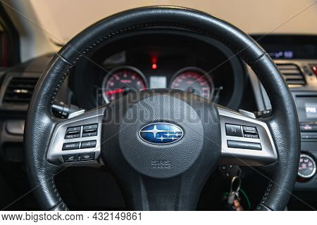 Novosibirsk, Russia - August 28, 2021: Impreza Xv, Cockpit Interior Cabin Details, Speedometer And T