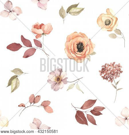 Floral autumn seamless pattern of scattered branches with leaves, flowers and inflorescence hydrangea. Watercolor print on white background in vintage style and pastel colors.