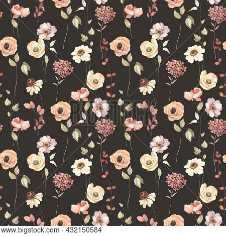 Floral autumn seamless pattern with flowers on stems. Watercolor print on dark brown background in vintage style and pastel colors.