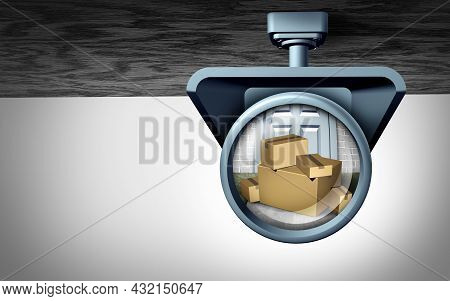 Home Delivery Security Concept And Package Robbery Or Online Shipping Theft Or Porch Pirate Thief Ri