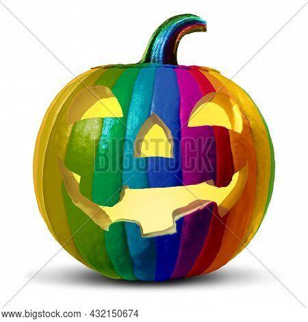 Halloween And Diversity As A Diverse Pumpkin On A White Background As A Jack O Lantern Seasonal Symb