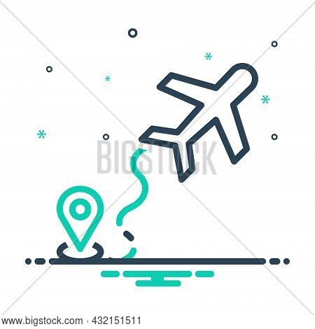 Mix Icon For Airline Airway Skyway Tour Journey Airline Air-highway Navigation Map Air-route