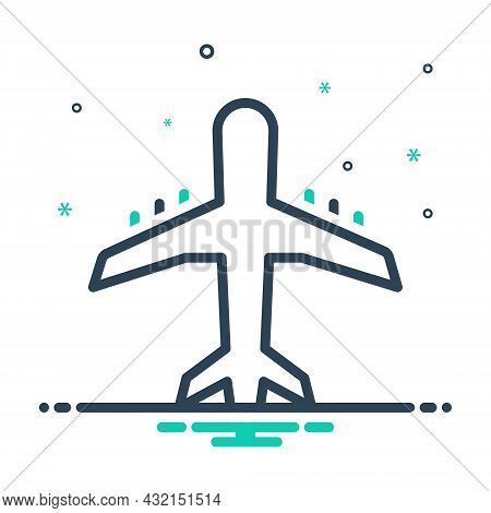 Mix Icon For Airline Jet Airliner Airway Tour Journey Skyway Aircraft Airplane Fight Fly Transport