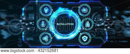 Business, Technology, Internet And Network Concept. Regulation Compliance Rules Law Standard 3d Illu