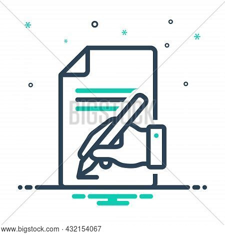Mix Icon For Write Inscribe Agreement Contract Deal Front Sheet-of-paper Sign Signature Notepad Scri