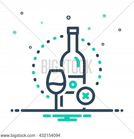 Mix Icon For Essentially Fundamentally Basically Prohibited  Wine Bottle Glass Alcohal Liquor Bevera