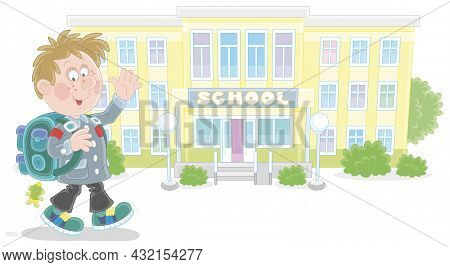 Cheerful Schoolboy With A Backpack Going To School And Waving His Hand In Greeting, Vector Cartoon I