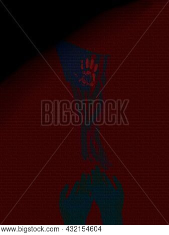 Pray for USA. American flag and bloody handprint. 3D rendering