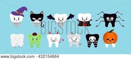 Teeth In Halloween Carnival Costume Vector Dental Icon Set.