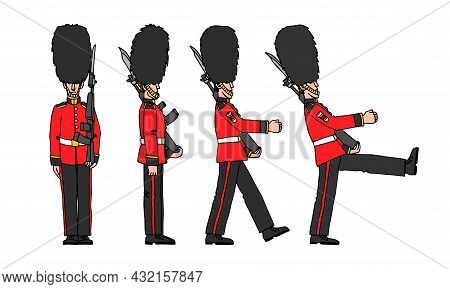A Set Of Standing And Marching Royal Guards In Bear Hats, A Symbol Of London, A Color Vector Illustr