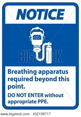 Notice Sign Breathing Apparatus Required Beyond This Point, Do Not Enter Without Appropriate Ppe