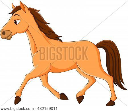 Vector Illustration Of Cartoon Brown Horse Running On White Background
