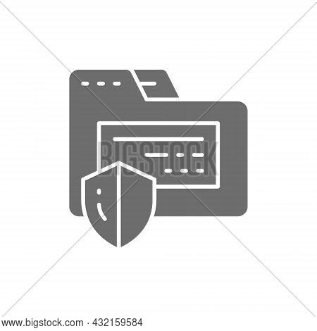 Folder Protection, Confidential Information, Internet Security Grey Icon.