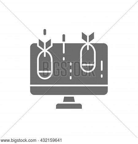 Vector Computer With Bomb, Virus Grey Icon.