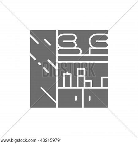 Clothes Closet, Wardrobe Grey Icon. Isolated On White Background