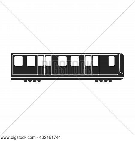 Subway Train Black Vector Icon.black Vector Illustration Cargo. Isolated Illustration Of Subway Trai