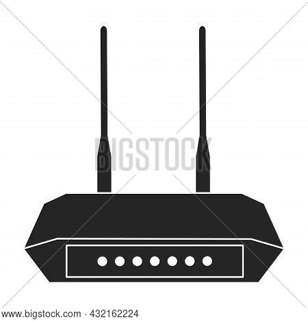 Router Vector Icon.black Vector Icon Isolated On White Background Router.