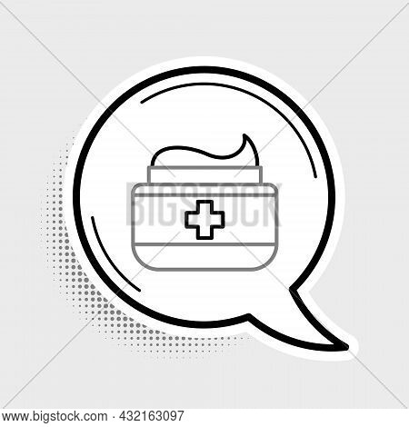 Line Ointment Cream Tube Medicine Icon Isolated On Grey Background. Tube, Container, Toothpaste, Cre