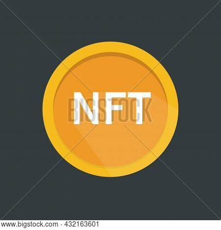 Nft Non Fungible Token Coin Icon. Сrypto Currency Nft Token Isolated On Black Background.