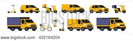 A Set Of Transport For An Online Food Delivery Service And Parcels To Your Home. Transport For Deliv