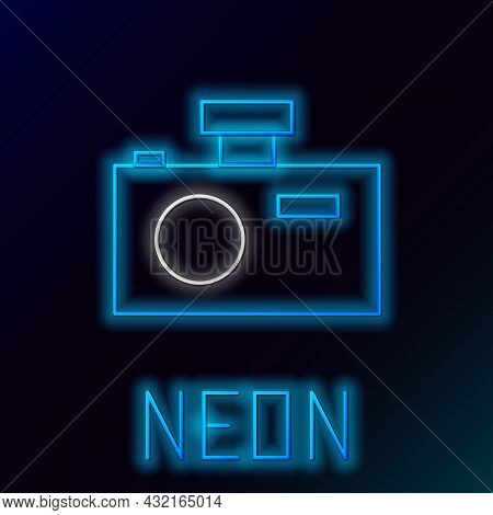 Glowing Neon Line Photo Camera Icon Isolated On Black Background. Foto Camera Icon. Colorful Outline