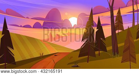 Summer Landscape With Green Fields, Hills And Coniferous Forest At Sunset. Vector Cartoon Illustrati