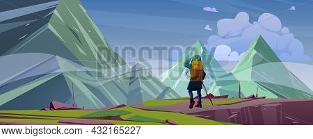 Traveler At Mountain Landscape With Peaks Covered With Fog. Travel Or Wanderer Extreme Journey, Adve