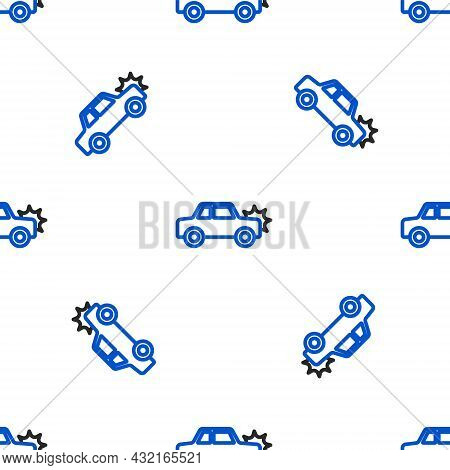 Line Car Icon Isolated Seamless Pattern On White Background. Insurance Concept. Security, Safety, Pr