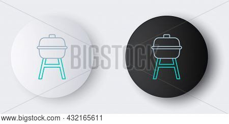 Line Barbecue Grill Icon Isolated On Grey Background. Bbq Grill Party. Colorful Outline Concept. Vec